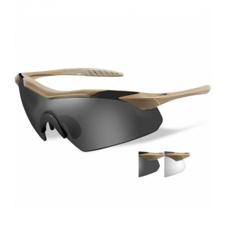 Okulary VAPOR Grey/Clear Lenses Tan Frame